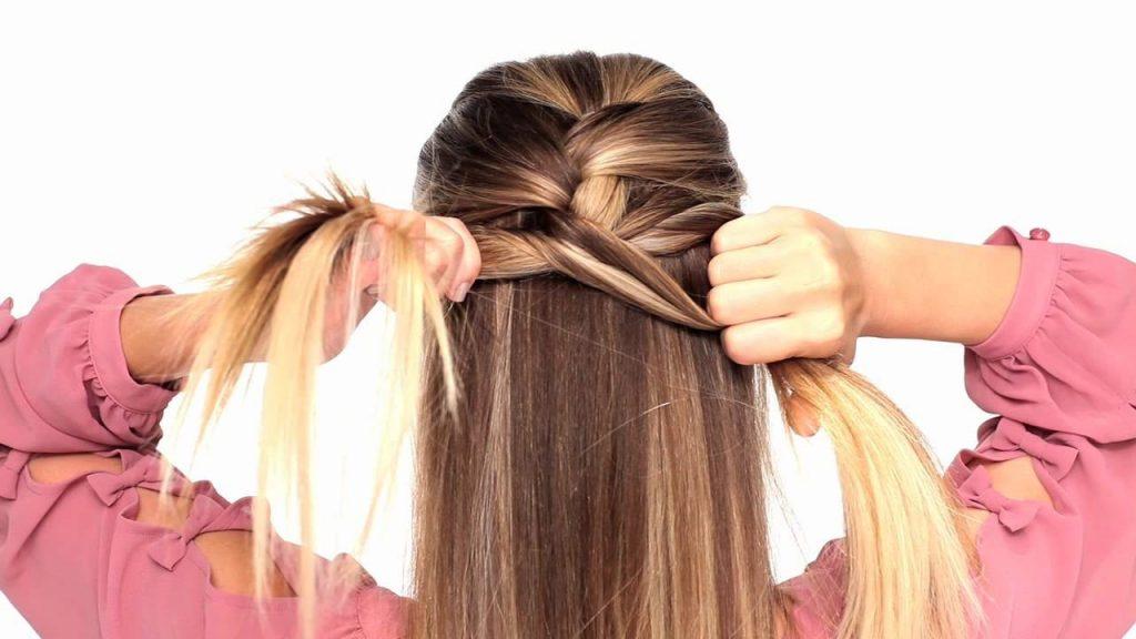 Как сделать косичку одну за волосами 540